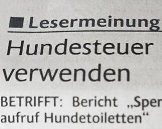 Read more about the article Hundetoiletten – Lesermeinung